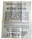 Men Of Virginia Recruitment Poster 1861